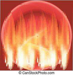 abstract, vuur, cirkel, rode achtergrond