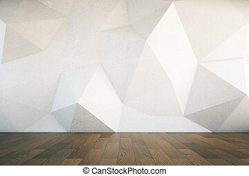 Abstract wall dark wooden floor