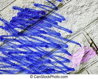 abstract wall graffiti, blue painting texture
