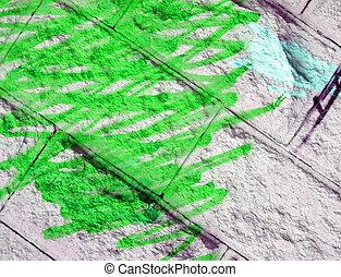 abstract wall graffiti, green painting texture