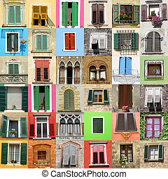 abstract wall made of beautiful old windows from Italy , Europe