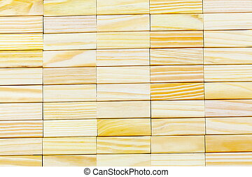 Abstract wall made of wooden blocks