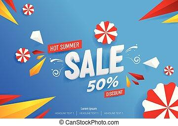 abstract, warme, zomer, verkoop, 50%, korting, vector, achtergrond, illustratie