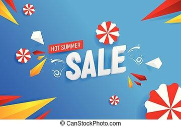 abstract, warme, zomer, verkoop, vector, achtergrond, illustratie
