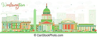 abstract, washington dc, skyline, met, kleur, gebouwen.