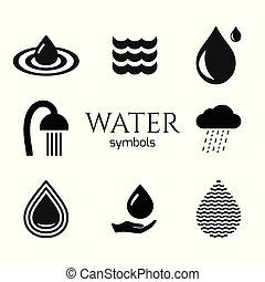 Abstract water drop symbols set. Vector creative concept icons.