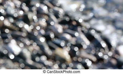 Abstract Water Surface Bokeh with Pebbles - Bokeh Sun Glare...