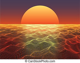Abstract water surface with sphere sun on horizon. Technology  background.