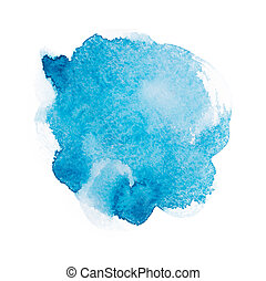 Abstract watercolor aquarelle hand drawn blue art paint on white background.
