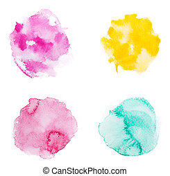Abstract watercolor aquarelle hand drawn colorful shapes art...
