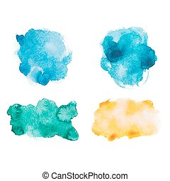 Abstract watercolor aquarelle hand drawn colorful shapes art paint splatter stain on white background Vector illustration