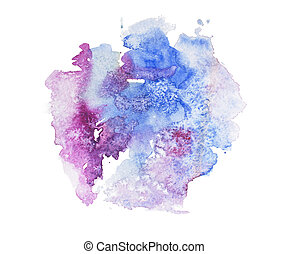 Abstract watercolor aquarelle hand drawn colorful art paint splatter stain on white background.