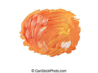 Abstract watercolor aquarelle hand drawn colorful orange art paint splatter stain on white background.