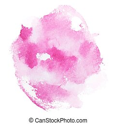 Abstract watercolor aquarelle hand drawn pink red art paint...