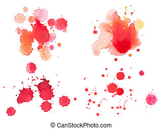 Abstract watercolor aquarelle hand drawn red blood drop...