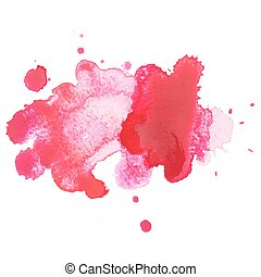 Abstract watercolor aquarelle hand drawn red drop splatter ...