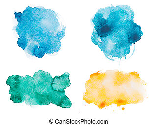 Abstract watercolor aquarelle hand drawn colorful shapes art paint splatter stain on white background