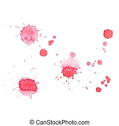 Abstract watercolor aquarelle hand drawn red drop splatter...