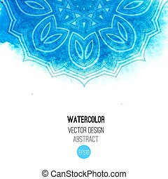 Abstract watercolor background. - Blue watercolor brush wash...