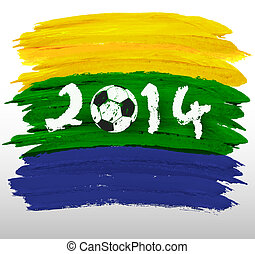 Abstract watercolor background in brazil flag concept. Brazil Summer 2014. Vector