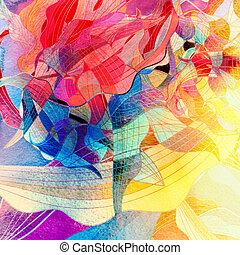 Abstract watercolor background with various colored elements...