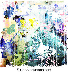 abstract watercolor background with butterfly
