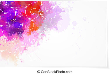 Abstract watercolor background with florals - Abstract...
