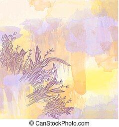 Abstract watercolor background with graphic floral elements - illustration