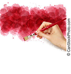 Abstract watercolor background with hand. Vector illustration