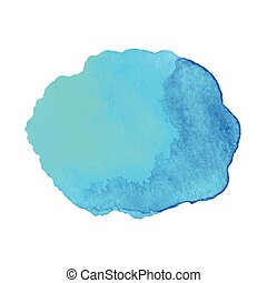Abstract watercolor blue hand drawn texture, isolated on white background, vector