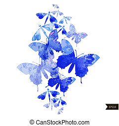 Abstract watercolor colorful background with butterflies