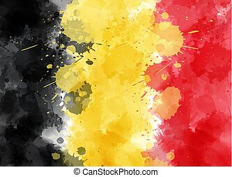 Abstract watercolor painted splashes flag of Belgium. Template for national holiday backgrounds. Holiday background for Belgian national day.