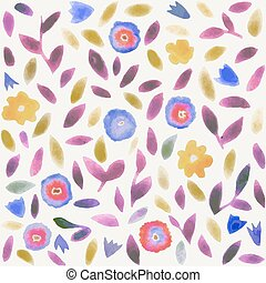 Abstract watercolor flower pattern.