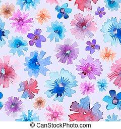 Abstract Watercolor Flower Pattern. Modern Flower Pattern.