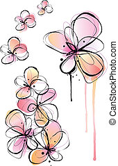 abstract watercolor flowers, vector - abstract flowers, ink ...