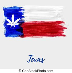 Texas flag with star replaced by marijuana leaf. - Abstract ...