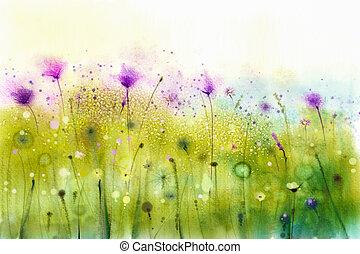 Abstract watercolor painting purple cosmos flowers and white wildflower. Дикие цветы луга, зеленые полевые картины. Ручная цветочная роспись, цветок на лугу. Spring flower seasonal nature background