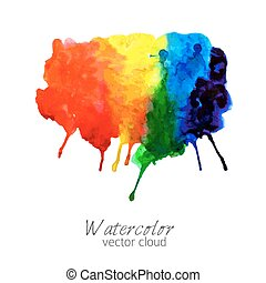 Abstract watercolor rainbow gradient stain
