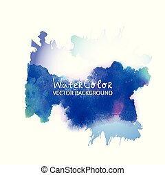 Abstract watercolor splash. Blue Watercolor drop on white background.