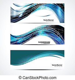 Abstract Wave Banner Set Vector