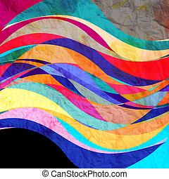 Abstract wave color background - bright watercolor retro...