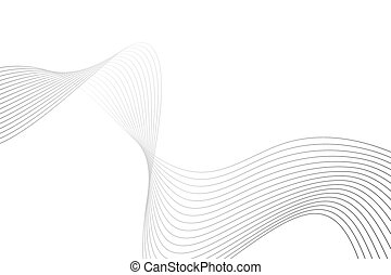 Abstract wave made up from thin gray curved lines on white