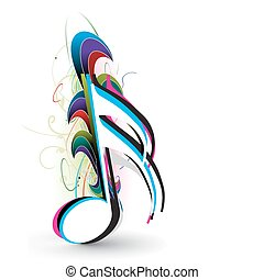 abstract wave music notes for design use, vector illustration