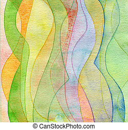 Abstract wave watercolor painted background