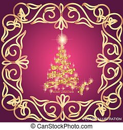 Abstract waves background with christmas tree. Vector illustration in lilac and gold colors.