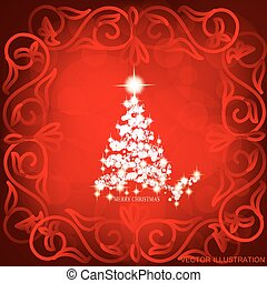 Abstract waves background with christmas tree. Vector illustration in red and white colors.