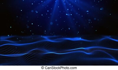 Abstract Digital waves flicker particles Dust on waving stripes Line Animation of seamless loop background. Award, Wedding, party, Ceremony, Fashion Show, Christmas, New Year, Anniversary Celebration.