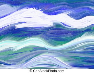 painting of abstract ocean waves