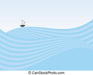 Abstract Waves Sailboat - Abstract waves background with...