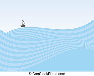 Abstract Waves Sailboat